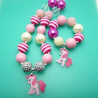 little girl jewelry - 2015 New my little pony children jewelry sets Pendants necklaces bracelet chunky bubblegum bead child girls kid necklace pendant bracelets