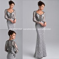 fashion winter wear - 2015 Long Full Length Mermaid Evening Dresses with Sweetheart Sheer Long Sleeved Formal Party Prom Gowns Beaded Arabic Dubai Light Grey Wear