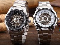 automatic chronograph watches - Winner Watch Men Fashion Chronograph Clock Skeleton Automatic Mechanical Watches Stainless Steel Mens Wristwatch MW049