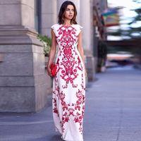Wholesale Sale New Summer Women Boho Floral Long Dress Lady Elegant Fashion Long Maxi print Dress Evening Party Dress vestidos longos Plus size