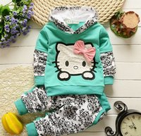 baby kitty costumes - 2016 Baby girl children clothing set kid hello kitty children s costumes sports suit for girl s sets all kids and accessories