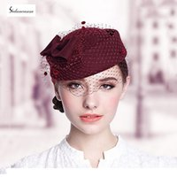 australia wines - Bere Fashion French Hat Beret White Khaki Wine Red Women Cute Australia Wool Berets With Mesh Quality Boinas Cap TS017001