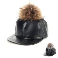 Wholesale Leather baseball cap pom pom real fur hats harajuku style adjustable snapback fashion caps for woman and man