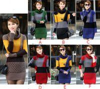 Wholesale Fashion women korean patchwork long sleeve contrast color sweater dress