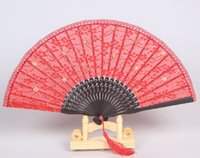 lace hand fan - Red Black Lace Fans For Wedding Lace Bridal Hand Fans Chinese Silk Bamboo Hand Fans Wedding Fan Bridal