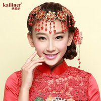 Wholesale kailiner red bridal headdress handmade beaded jewelry crystal bridal flower hair accessories wedding ornaments Chinese