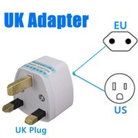 Wholesale Universal US EU To UK AC Power Travel Converter Adapter Pins V V White small order no tracking