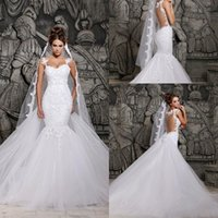 Wholesale 2016 Cheap Mermaid Wedding Dresses Spaghetti Straps Lace Appliques Sheer Illusion Back Beaded Detachable Train Overskirts Bridal Gown BO4801