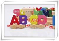 alphabet train letters - Wooden Letter Name Train Educational Wood Toy Engine Alphabet Railway Kids Toy Wooden Train Letters toy CMB1 CT0023