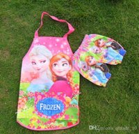 Wholesale 500PCS HHA259 frozen waterproof aprons frozen painting children cooking aprons for kids anna elsa frozen apron set with sleeves cover