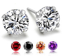 Wholesale 2016 Real Sterling Silver Cute Colors Crystal Rhinestone Stud Earrings for Women Fashion Jewelry