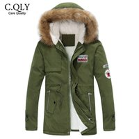 Wholesale Fall New Arrival Hooded Winter Jacket Men Army Green Thicken Mens Puffer Jacket with Fur Hoody Mid long Cotton Coat Plus size