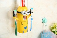 Wholesale 2015 New Cute Despicable Me Minions Design Set Cartoon Toothbrush Holder Automatic Toothpaste Dispenser with Brush Cup