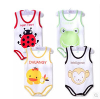 baby girl cartoon images - Summer hot models boy and girl cotton baby bodysuit colors age month Cartoon images triangle Climbing clothing