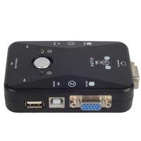 Wholesale 2 Ports USB VGA KVM Switch Box Converters For Computer Keyboard Mouse F1825 W0 SYSR