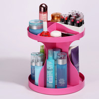 Wholesale New Degree Rotatable Cosmetics Plastic Makeup Storage Two Layer Multifunctional Makeup Cosmetic Organizer
