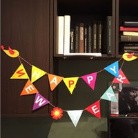 Wholesale Korea Creative Happy New Year series DIY Multifunction Card Party flags set Festival party paper decoration dandys