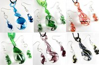 Wholesale Dichroic Foil Murano Glass Dewdrop Dangle Earrings Pendant Necklace Jewelry Sets For Woman Pendientes Jewellery Collares