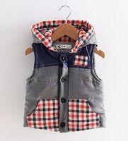 baby boy applique - 1 Autumn winter Thick Plaid Hooded Vest Children Baby Waistcoat Girls Boy Kid Outwear