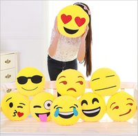 nonwoven fabric - 100pcs Styles Cushion Cute Lovely Emoji Pillows Cartoon Facial QQ Expression Cushion Yellow Round Pillow Stuffed Plush Toy PP Cotton