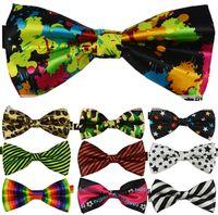 mens neckwear - New Mens Womens Unisex Floral Star Check Polka Dot Stripes Print Bowtie Neckwear Bow Tie
