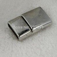 Wholesale brozen brass zinc alloy quadrate magnetic clasp hooks antique Silver Clasps for Leather Bracelet