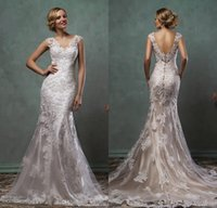 Wholesale Amelia Sposa Wedding Dresses Full Lace Cap Sleeve V Neck Trumpet Fit And Flare with Champagne Underlay Modern Spring Bridal Gowns Cheap