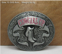 Wholesale WESTERN BELT BUCKLE Cowgirl Up with rodeo boots oval belt buckle