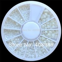 Wholesale 2014 Nail Art White Pearl Nail Art Stone Different Size Wheel Rhinestones Beads