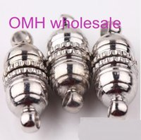 Wholesale OMH sets Silver Plated Tube Barrel Round Strong Magnetic Buckle Clasps Jewelry Finding ZL655