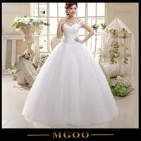 Wholesale MGOO Amazing High Quality Sheer Neck Wedding Dress For Party Sheer Neck Short Sleeves Lace Up Ball Gown Bride Dress