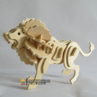 animal construction - New fancy Intelligent educational toy D animal model WOODEN PUZZLE DIY WOODCRAFT CONSTRUCTION KIT handmade LITTLE LION G M028A P0640
