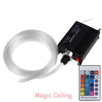 Wholesale W RGBW LED Optic Light Star Ceiling Kit Lights mm M Optical Fiber Engine Lighting RF key Remote EU PLUG