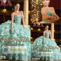 Wholesale Mint Green tiered organza sweet dress new corset vestido de quinceanera dress with beading train prom dresses
