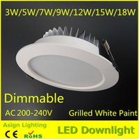 Wholesale 6pcs Newest Led Downlights W W W W W W W Dimmable Led Ceiling Recessed DownLight Angle Warm Cool White Led Lamps AC85 V