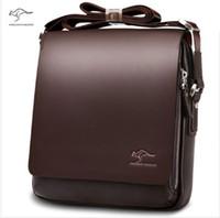 Wholesale New Kangaroo design leather men Shoulder bags men s casual business messenger bag vintage crossbody ipad Laptop briefcase