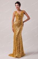 grace karin - Hot Sale Grace Karin New Shining Sequins Gold Sexy Sheath Evening Dresses Deep V neck Sweep Train Gold sequined bridesmaid dress Custom Made