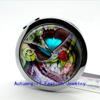 antique compact mirrors - New Arrival Photo Mirror Steampunk Butterfly Compact Mirror Antique Pocket Mirrors Cosmetic Mirror