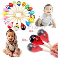 Wholesale 1PC Wooden Maraca Wood Rattles Kid Musical Party Kid Child Baby Beach Shaker Toy Hot Sale