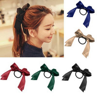 accessories for ties - Lovely bowknot Hair Band Scrunchie Ponytail Holder Multi Color Hair Tie Rope Fashion Hair Accessories Women Ribbon Bow for Wedding