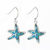 sterling silver earrings - Starfish sterling silver opal earrings of new Fire opal jewelry No90 FE215