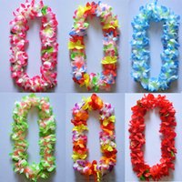 wreath supplies - Hawaiian leis Garland Necklace Colorful Fancy Dress Party Hawaii Beach Fun Party Supplies Hawaiian Wreaths Cheerleading Products NO