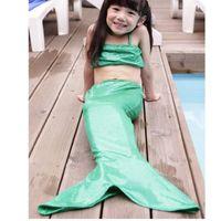 Wholesale Girl Mermaid Tail Swimmable Monofin Capable Sea maid Fantasia Princess Bikini Swimwear Beach Kids Children Dress fairy tail