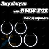 Wholesale Ccfl Ring Bmw E46 - Super bright 8000k ccfl angel eyes halo rings kit for BMW E46 non-projector auto ccfl angel eye car headlights free shipping