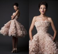 red and white strapless wedding dresses - 2015 Krikor Jabotian FW14 Ball Gown Wedding Dress Tiered Floral Knee Length Bridal Gown with Backless and Strapless Neckline