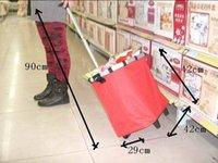hand trolley - Women Wheeled Shopping Bag Portable Folding Cart Bags Car Collapsible Handbags Travel Outdoor High Capacity shopping car