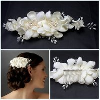 Silk Flower fabric flowers - Graceful Hair Flowers Bridal Tiaras with Comb Pearls Headband Ivory Color Silk Fabric Wedding Hair Accessories For Bride High Quality CGL408