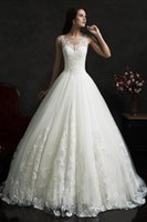 Wholesale Amelia Sposa Spring Fall A Line Wedding Gowns With Sheer Bateau Neck Illusion Buttons Back Lace Appliques Chapel Train Bridal Gowns XS