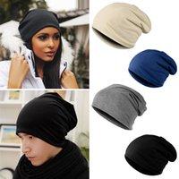 mens fashion caps - Jersey Cotton Blended Beanie Slouch Warm Hat Festival Unisex Mens Ladies Caps Hats