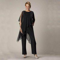 Cheap Wholesale-3 pieces Casual Wear for Women 2016 Black Mother Pant Suits Ladies Chiffon Wedding Party Evening Suit Hot Sale Custom Made